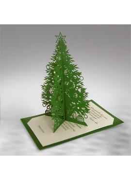 Kartka Świąteczna Zielona Choinka 3D FS633z