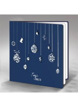 Kartka Świąteczna z Subtelnym Wzorem Bombek FS242ng