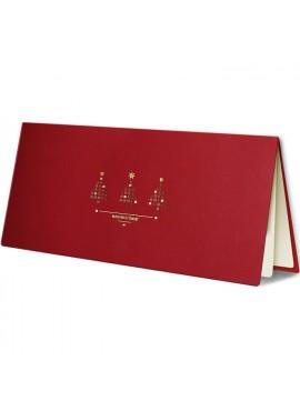 Kartka Świąteczna Trzy Małe Choinki ze Złoconymi Bombkami FS406bg