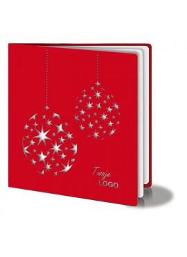 Kartka Świąteczna z Dwiema Bombkami w Gwiazdki FS299cg