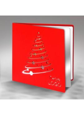 Kartka Świąteczna Nowoczesna Choinka z Bombkami FS323cg