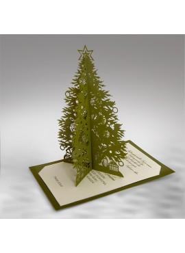 Kartka Świąteczna Oliwkowa Choinka 3D FS633zl