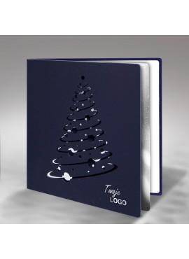 Kartka Świąteczna Nowoczesna Choinka z Bombkami FS323gg