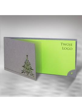 Kartka Świąteczna z Krótszym Przodem Okładki i Wyciętą Choinką FS391s