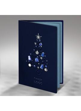 Kartka Świąteczna Choinka z Elementami Świątecznymi FS390gg-n
