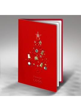 Kartka Świąteczna Wytłoczona Choinka z Elementami Świątecznymi FS390cg