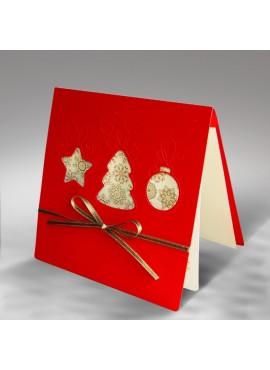 Kartka Świąteczna z Trzema Bombkami Wyciętymi Laserowo FS328cg