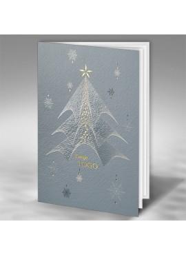 Kartka Świąteczna z Nowoczesną Choinką i Śnieżynkami FT7511gr
