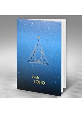 Kartka Świąteczna Nowoczesny Motyw Choinki ze Złoceniami FT7503b15