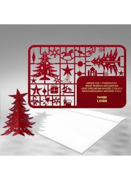 Kartka Świąteczna Bordowa Choinka 3D FS341bg