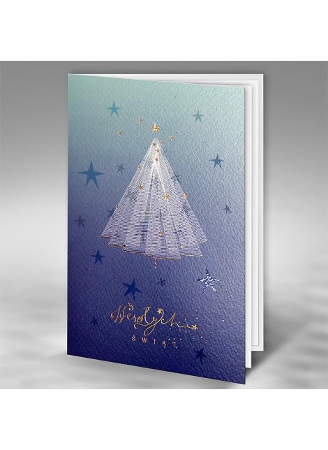 Kartka Świąteczna z Oryginalnym Motywem Choinki z Gwiazdkami FT7512b15