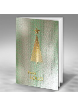 Kartka Świąteczna z Nowoczesnym Motywem Złotej Choinki FT7504