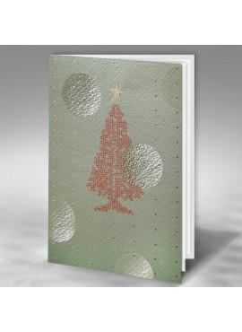 Kartka Świąteczna z Nowoczesną Choinką oraz Okrągłymi Elementami FT7508k