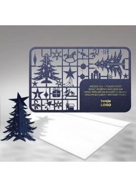 Kartka Świąteczna Granatowa Choinka 3D FS341i