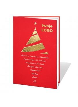 Kartka Świąteczna Złota Choinka z Lustrzanym Odbiciem 011232wr