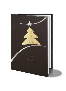 Kartka Świąteczna Złota Choinka ze Srebrną Gwiazdą 011348wb