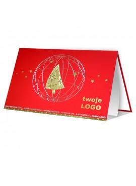 Kartka Świąteczna ze Złotą Choinką w Szkielecie Bombki 011351wr