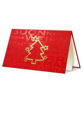 Kartka Świąteczna ze Złotym Zarysem Choinki oraz Gwiazdek 011466wr