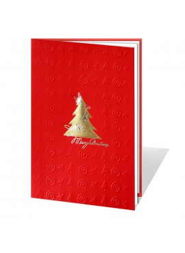 Kartka Świąteczna Złota Choinka oraz Wytłoczone Elementy Świąteczne 01369wr