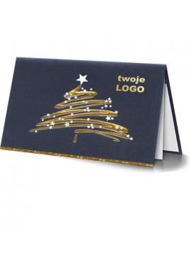 Kartka Świąteczna Nowoczesna Choinka z Gwiazdkami 011376l