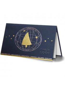 Kartka Świąteczna ze Złotą Choinką w Szkielecie Bombki 011351l
