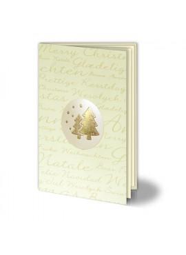 Kartka Świąteczna Perłowe Kółko ze Złotymi Choinkami 011458w