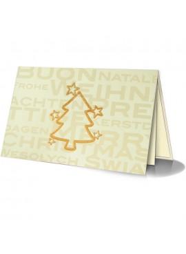Kartka Świąteczna z Wyzłoconym Zarysem Choinki oraz Gwiazdek 011466w