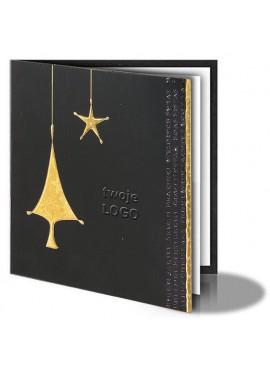 Kartka Świąteczna ze Złotą Choinką oraz Gwiazdą 011379b