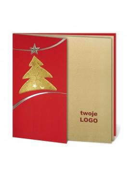 Kartka Świąteczna z Motywem Złotej Choinki 011374wr