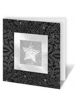 Kartka Świąteczna ze Srebrną Gwiazdą w Kwadracie CFB005.080.12869
