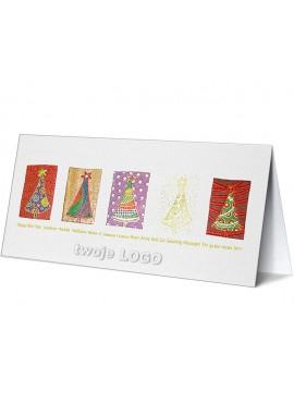 Kartka Świąteczna z Choinkami w Różnych Kolorach CFB012116