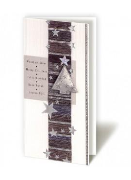 Kartka Świąteczna z Ciemnym Pasem Ozdobiona Gwiazdkami i Choinką CFB005.015.12873