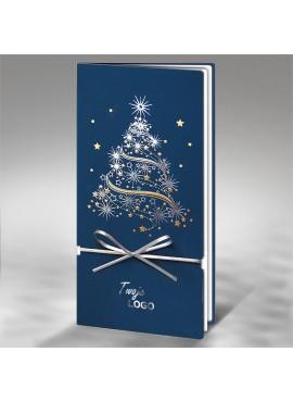 Kartka Świąteczna Choinka ze Srebrną Kokardą FS256ng