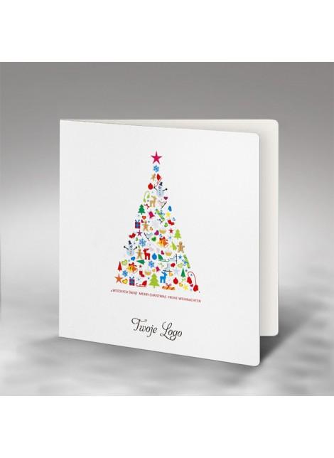 Kartka Świąteczna z Prostą Kolorową Choinką FS735
