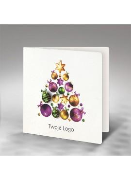 Kartka Świąteczna Choinka z Kolorowych Bombek FS738