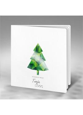 Kartka Świąteczna z Motywem Zielonej Choinki FS707