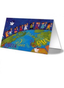 Kartka Świąteczna z Dziećmi Idącymi Po Kuli Ziemskiej 011512