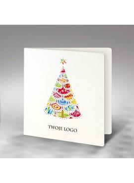 Kartka Świąteczna z Motywem Kolorowej Choinki FS737