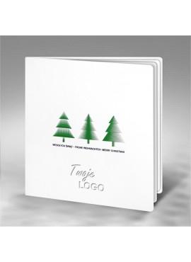 Kartka Świąteczna z Motywem Trzech Zielonych Choinek FS685