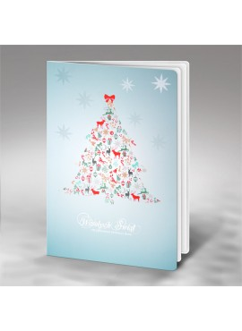 Kartka Świąteczna Choinka z Elementów Świątecznych FS710
