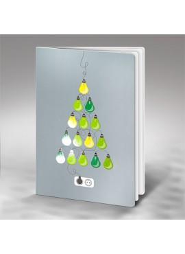 Kartka Świąteczna Choinka z Kolorowych Żarówek FS700