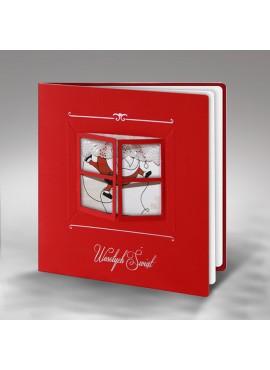 Kartka Świąteczna Wzór Okienka ze Świętym Mikołajem FS332cg