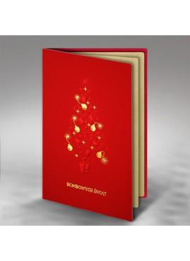 Kartka Świąteczna z Motywem Bombowej Choinki FS421cg