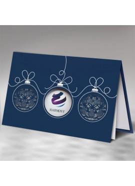 Kartka Świąteczna z Motywem Trzech Bombek Wyciętych Laserowo FS833ng