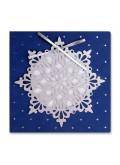 Kartka Świąteczna Śnieżynka ze Srebrną Kokardą FS908nm