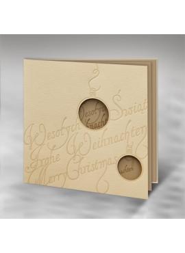 Kartka Świąteczna z Życzeniami w Trzech Językach i Wyciętymi Bombkami FS428