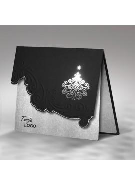 Kartka Świąteczna z Elegancką Srebrną Choinką FS356ag