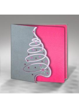 Kartka Świąteczna z Częściowo Wyciętą Laserowo Choinką FS346s