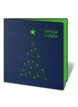 Kartka Świąteczna Choinka z Zielonych Gwiazdek FS176g1