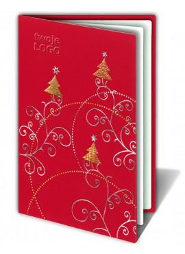 Kartka Świąteczna Choinka ze Złoconymi i Srebrzonymi Wzorami Świątecznymi FS170cg